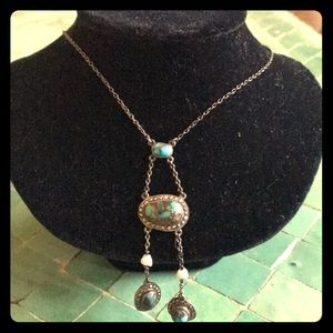 Sterling,turquoise, marcasite, sea pearl necklace